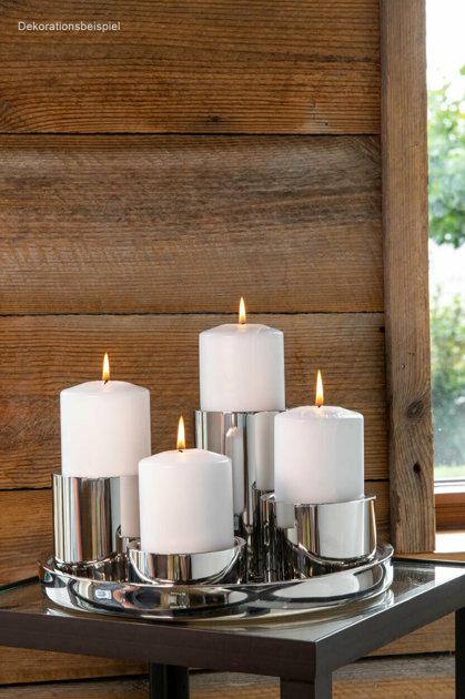 5 er Set Stumpenkerzen-Halter aus Edelstahl und Tablett Ø 32 cm Silber