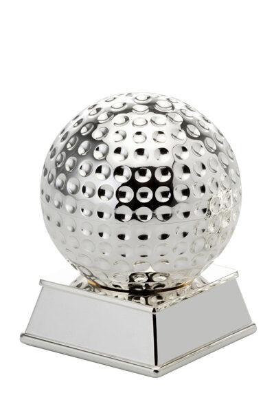 Briefbeschwerer Motiv Golfball auf Sockel versilbert gehämmert silber