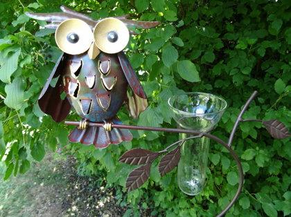Regenmesser Gartenstecker Eule Vogel Metall Glas Bunt H 143 cm