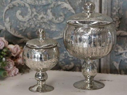 Chic Antique Schale Bowle Bowle mit Deckel Antik Silber klein links
