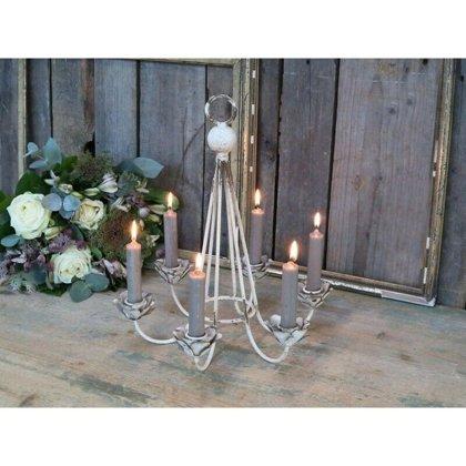 Chic Antique Franz. Kerzen Leuchter Metall Kerzenständer Shabby 6 Flammig