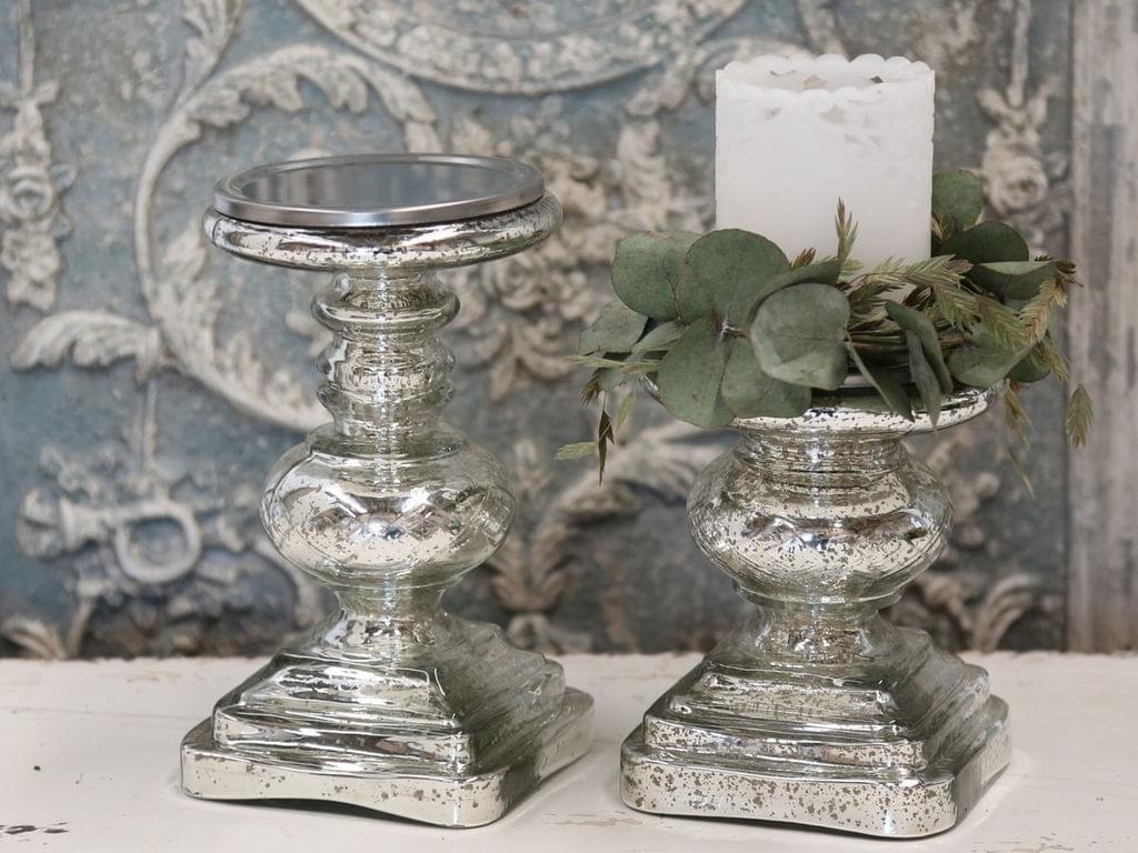 Chic Antique Kerzenhalter mit Schliff Kerzenständer Antik Silber viereckig
