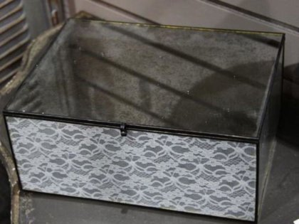 Chic Antique Glasbox mit Spitzen Aufbewahrung Box Nostalgie Vintage Shabby