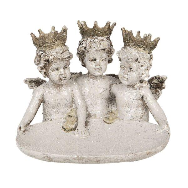 Clayre & Eef Deko Engel Engeltrio Antik Weiß Polyresin Figur Deko Weihnachten