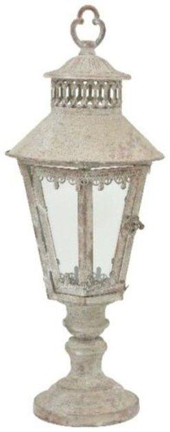 XL Laterne Stand Windlicht Orient Metall Garten Deko Antik Grau Vintage H 53 cm