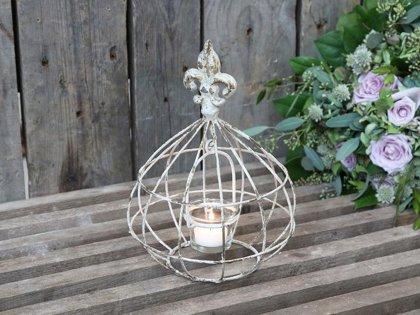 Chic Antique Windlicht mit Glaseinsatz Frz. Lilie Antique Creme Vintage H 25 cm