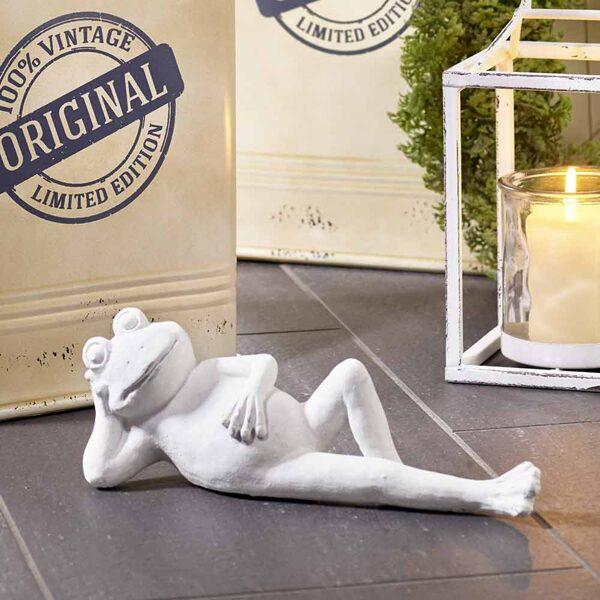 Moderne Skulptur Schöner Dekofrosch liegend Polyresin weiß matt 2 Größen