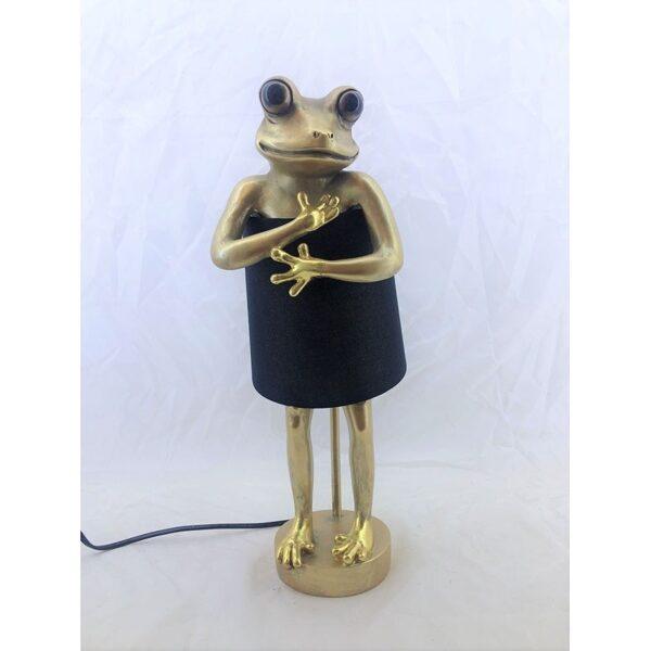 Tischleuchte Animal Frog Frosch Gold Schirm schwarz Tischlampe H 43,5cm
