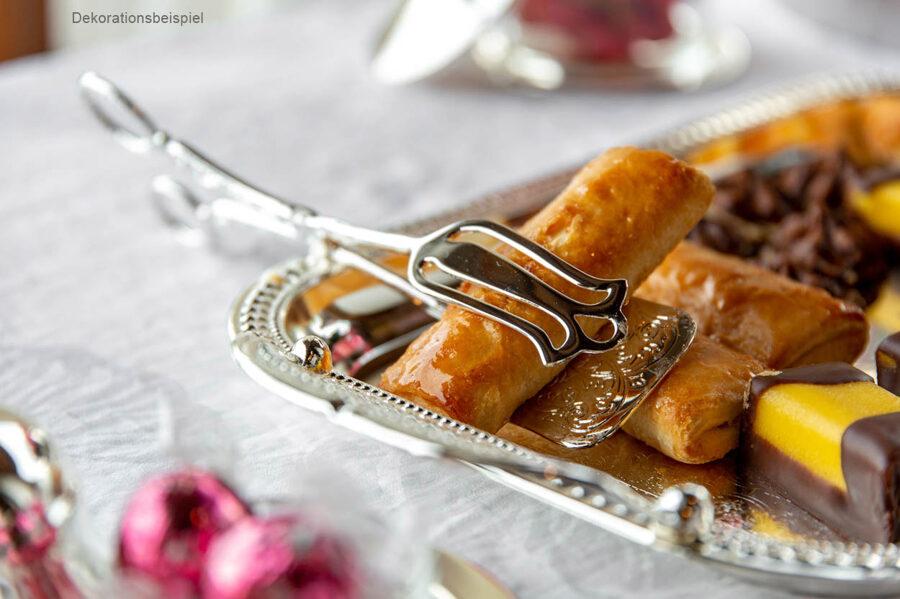 Hochwertige Gebäckzange versilbert verziert Servierzange Büffet-Zange für Gebäck Kuchen