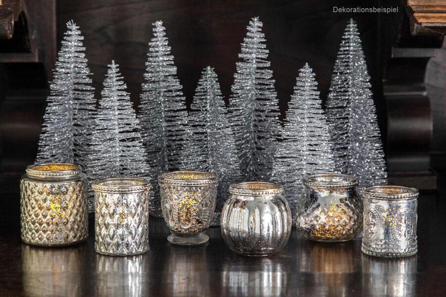 6 er Set Teelichthalter antiksilber Bauernsilber mit Metalldekor Ø: 6 -7,5 cm