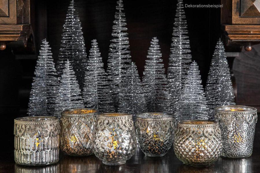 6 er Set Teelichthalter antiksilber Bauernsilber mit Metalldekor Ø: 8,5-10 cm