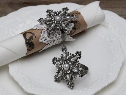 Serviettenring Antik Silber Serviettenhalter Eiskristall m.Perlen Chic Antique