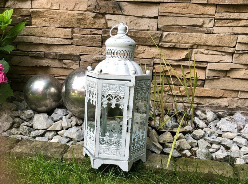 Laterne Hänge-Stand Windlicht Orient Metall Garten Deko Antik Weiss Vintage H 37cm