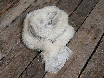 Chic Antique Schal m. Pelzkante 50% Cashmere Wollweiß Luxus Pur L 200 /B 70 cm