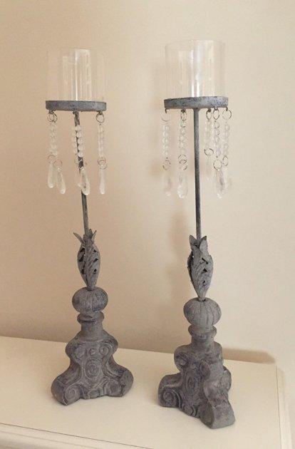 Kerzenhalter Barock Kerzenständer grau gekalkt Glas/Metall Antik Shabby H 46 cm