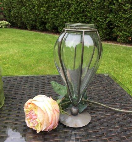 Vase auf Fuss WMG Deko Vase Eisen/Glas Akzente in Luxus H 15 cm Schwarz/Braun