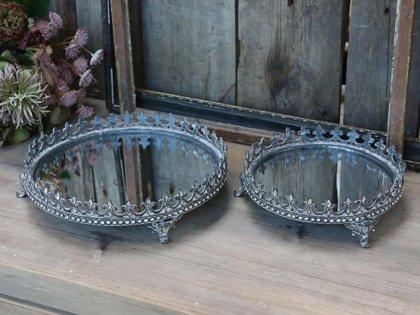 Chic Antique Spiegel Tablett Strasssteinkante Frz. Lilie Silber D 18 cm