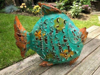FISCH Windlicht Laterne Skulptur Gartendeko Figur maritim Metall Handarbeit groß