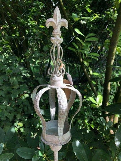 Teelichthalter Krone Frz. Lilie H 120 cm Windlicht Metall Antikgrau Shabby