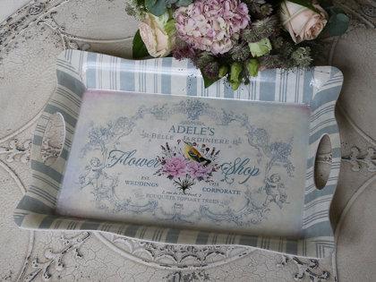 Nostalgisches Tablett m. Engel Druck Chic Antique Creme Opal Shabby Vintage L 40 x B 28 cm