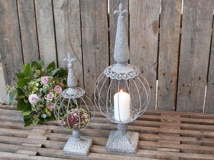 Chic Antique Kerzenhalter Kerzenleuchter Antique Zink Metall franz. Lilie Deko  2 Größen Deko