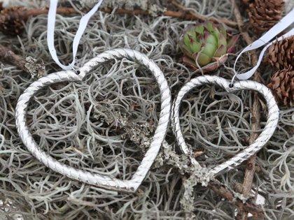 Chic Antique Verschenk Dein Herz Herzanhänger Kette Metall silber Deko 2 er Set
