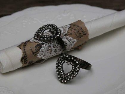 Serviettenring Antik Silber Serviettenhalter Herz m. Simili Chic Antique