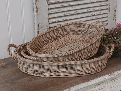 Chic Antique Rattan Tablett Korb Storage Oval seitl. Griffe Natur 2 Größen