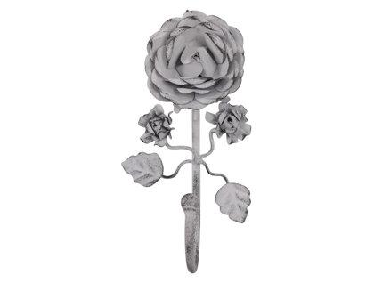 Wandhaken Rose 1 Haken Chic Antique Metall Antik Weiß Brocante Franske Shabby