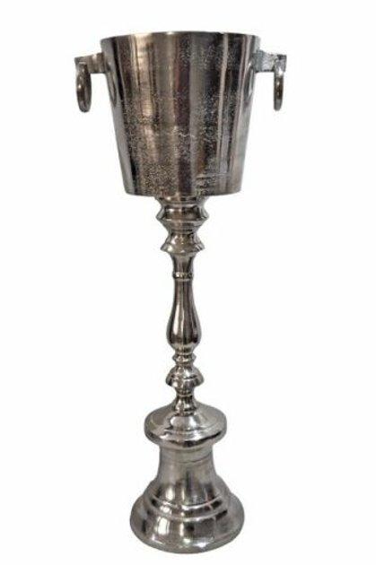 Formschöner Weinkühler Sektkühler auf Fuss Flaschenkühler, Aluminium, Silber H 81 cm