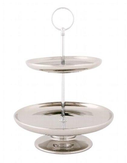 Etagere Kuchenplatte Servierplatte 2 Etagen Landhaus Keramik Silber H 20 cm