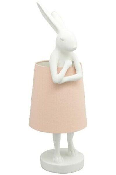 Tischleuchte Animal Rabbit weiß Hase Schirm rosa Tischlampe