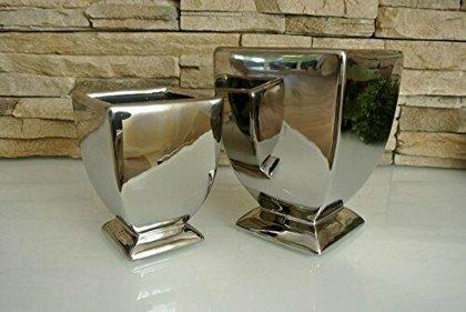 Topf / Vase / Pokal ArgenT Akzente in Luxus Keramik Silber Deko 2 Größen