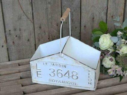 Chic Antique Box m. Tragegriff 2 Fächer Organizer Kasten Metall Factory Shabby