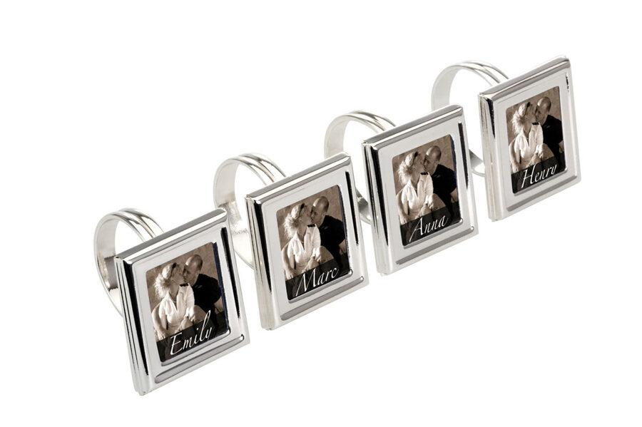 4 er Set Personalisierte Serviettenringe mit Fotorahmen Serviettenhalter Silber
