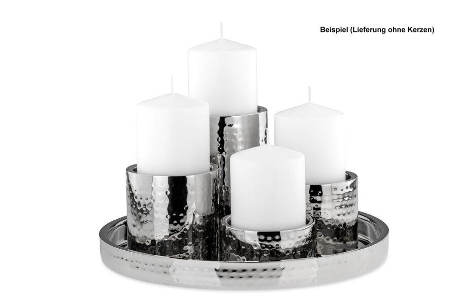 5 er Set Stumpenkerzen-Halter aus Edelstahl gehämmert und Tablett Ø 32 cm Silber