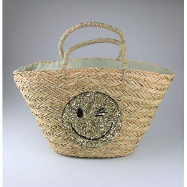 Shopper mit goldenen Smiley Motiv - Korb - Tasche Strandtasche - Sommer Stroh NEU
