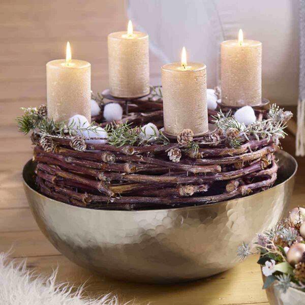 Natur Kranz Weidenkranz Rebe Adventkranz mit 4 Kerzenhalter Ø 50cm H 13 cm grau gekalkt
