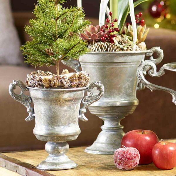 Vase Pokal Amphore auf Fuss  Antik Silber Metall 2 Größen